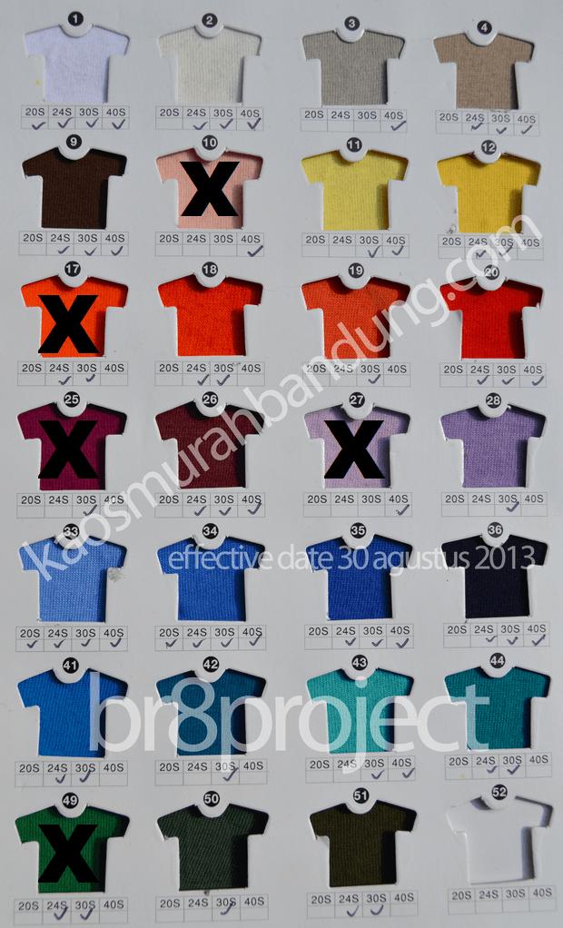 katalog warna kaos