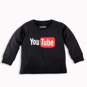Kaos Anak Lengan Panjang Youtube Hitam